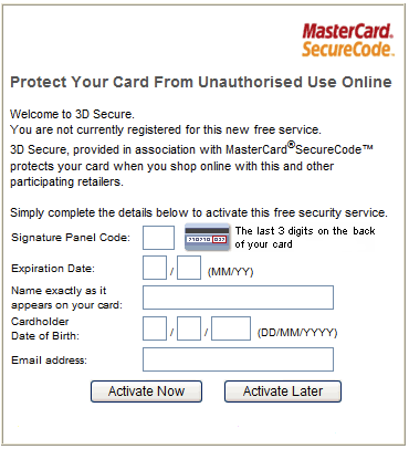 Verified by Visa and MasterCard SecureCode registration screen.